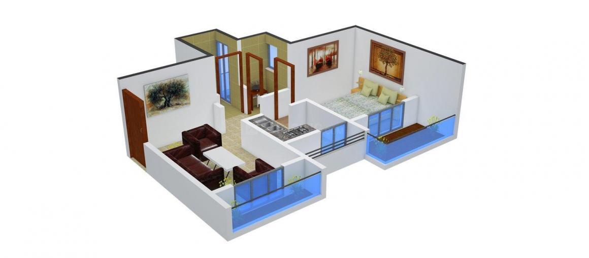 Floor Plan Image of 670 - 970 Sq.ft 1 BHK Apartment for buy in Shree Hari Home Vakratunda