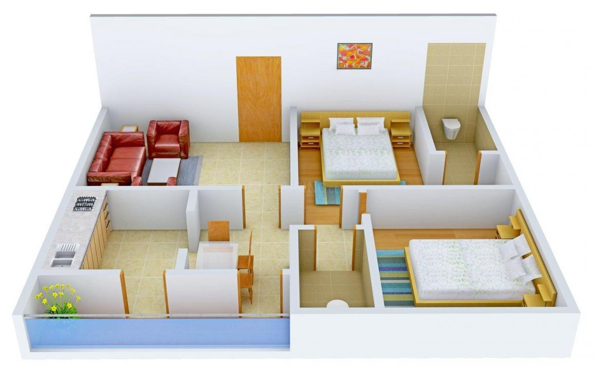 Floor Plan Image of 0 - 850 Sq.ft 2 BHK Apartment for buy in Gem Nest