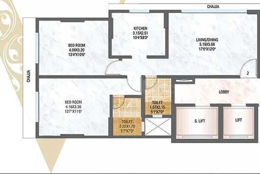Vijay Raj Viraj Bliss Floor Plan: 2 BHK Unit with Built up area of 752 sq.ft 1