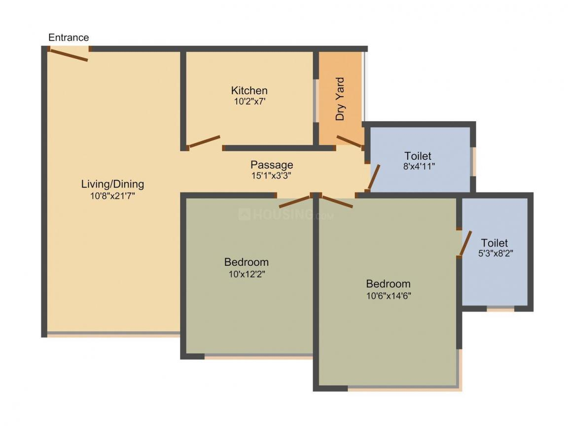 Floor Plan Image of 1030.0 - 1505.0 Sq.ft 2 BHK Apartment for buy in Raheja Tipco Heights