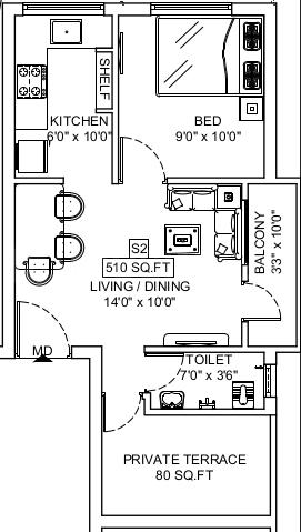 Sri Manishaa Aditya Apartment Floor Plan: 1 BHK Unit with Built up area of 510 sq.ft 1