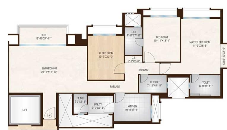 Hiranandani Barrington Floor Plan: 3 BHK Unit with Built up area of 1265 sq.ft 2