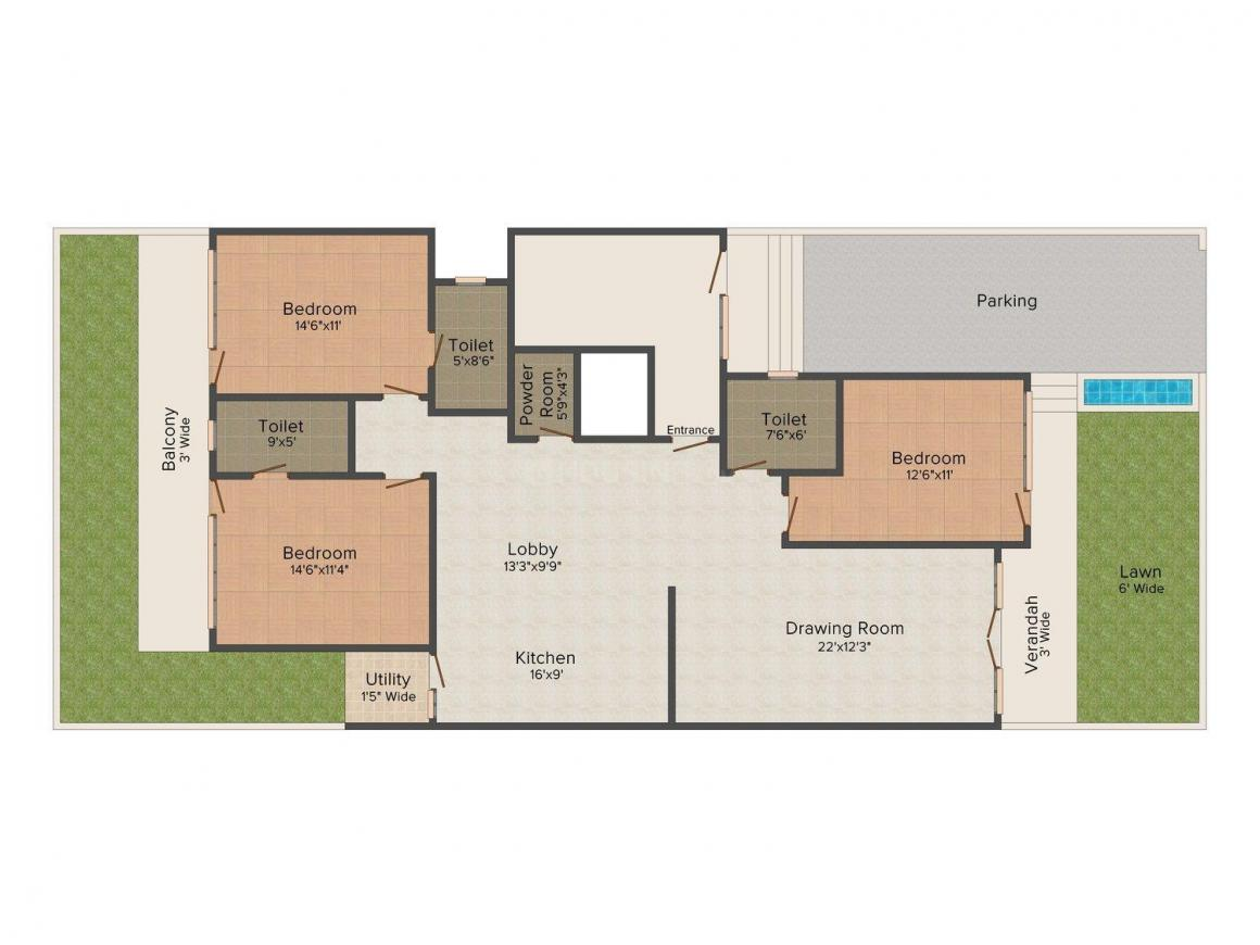 Floor Plan Image of 0 - 2000.0 Sq.ft 3 BHK Independent Floor for buy in M & S  B-364A, SL-1