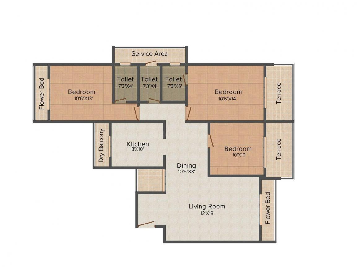 Floor Plan Image of 0 - 1580.0 Sq.ft 3 BHK Apartment for buy in Orient Platinum