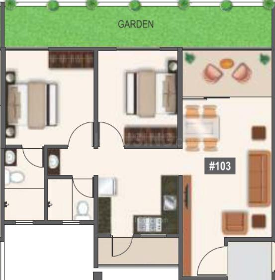 Mantra 29 Gold Coast Phase 1 Floor Plan: 2 BHK Unit with Built up area of 796 sq.ft 1