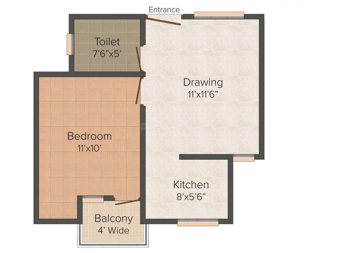 Shiv Homes 1 Floor Plan: 1 BHK Unit with Built up area of 590 sq.ft 1