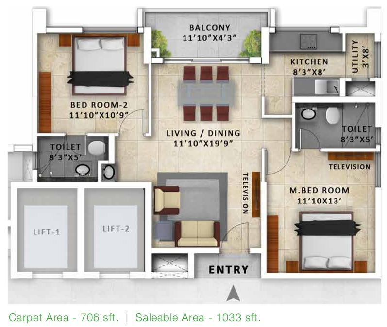 Incor Pbel City Floor Plan: 2 BHK Unit with Built up area of 1033 sq.ft 1