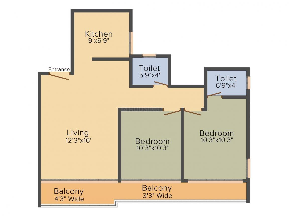 Floor Plan Image of 540 - 780 Sq.ft 1 BHK Apartment for buy in Fia Avighna