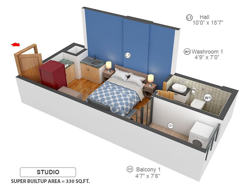 Sowparnika Columns Floor Plan: 1 BHK Unit with Built up area of 330 sq.ft 1