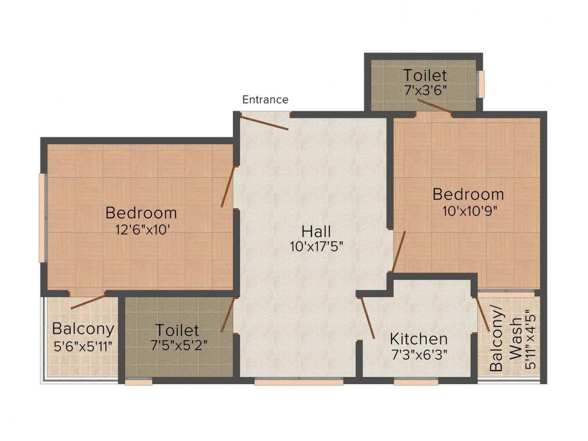 Floor Plan Image of 810 - 1130 Sq.ft 2 BHK Apartment for buy in Chandra Awas Seagull