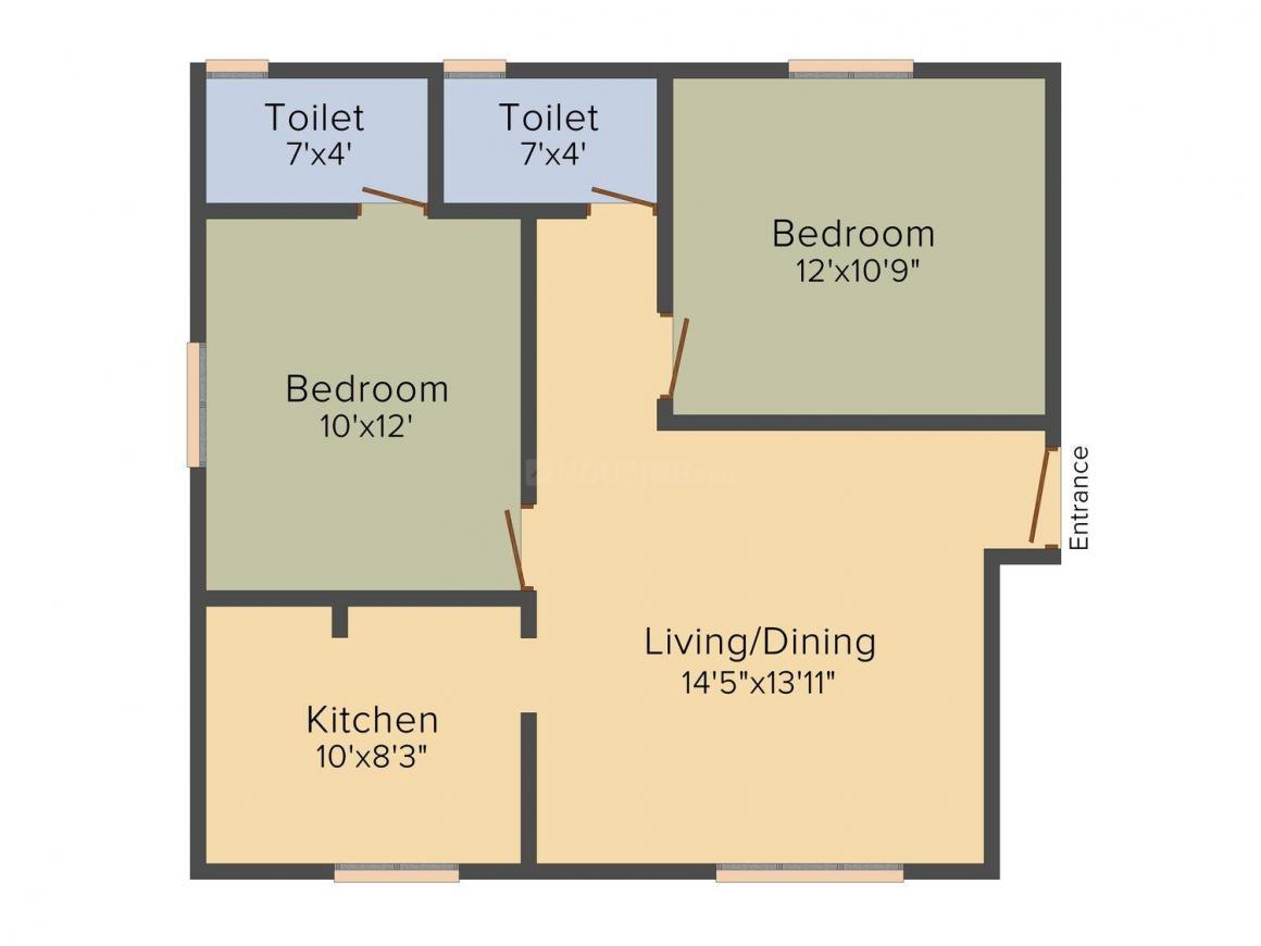 Floor Plan Image of 776 - 911 Sq.ft 2 BHK Apartment for buy in SPP Fern