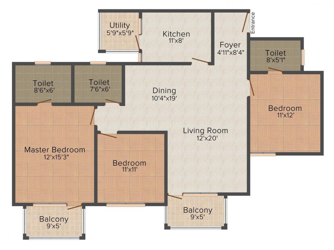 Floor Plan Image of 1387 - 1866 Sq.ft 2 BHK Apartment for buy in Purva Amaiti