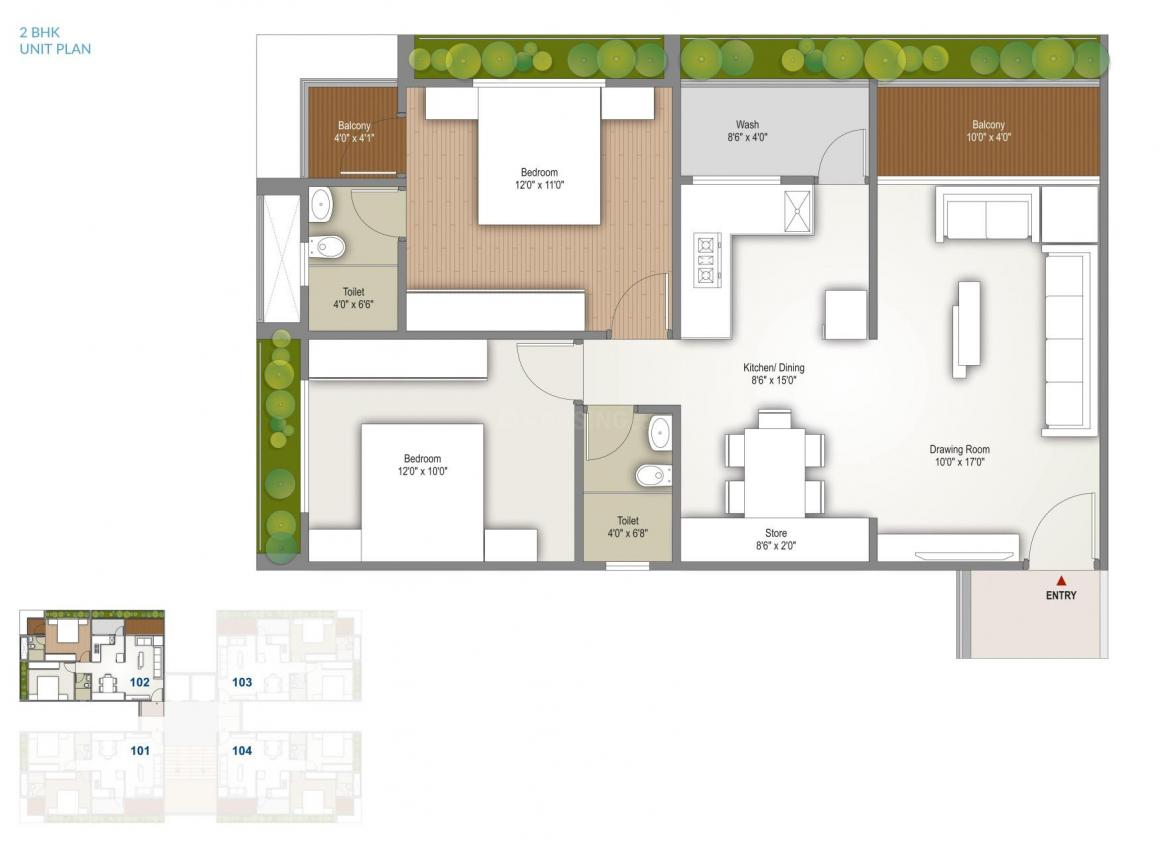 Hindva Skyview Floor Plan: 2 BHK Unit with Built up area of 62.06 sq.mt 1