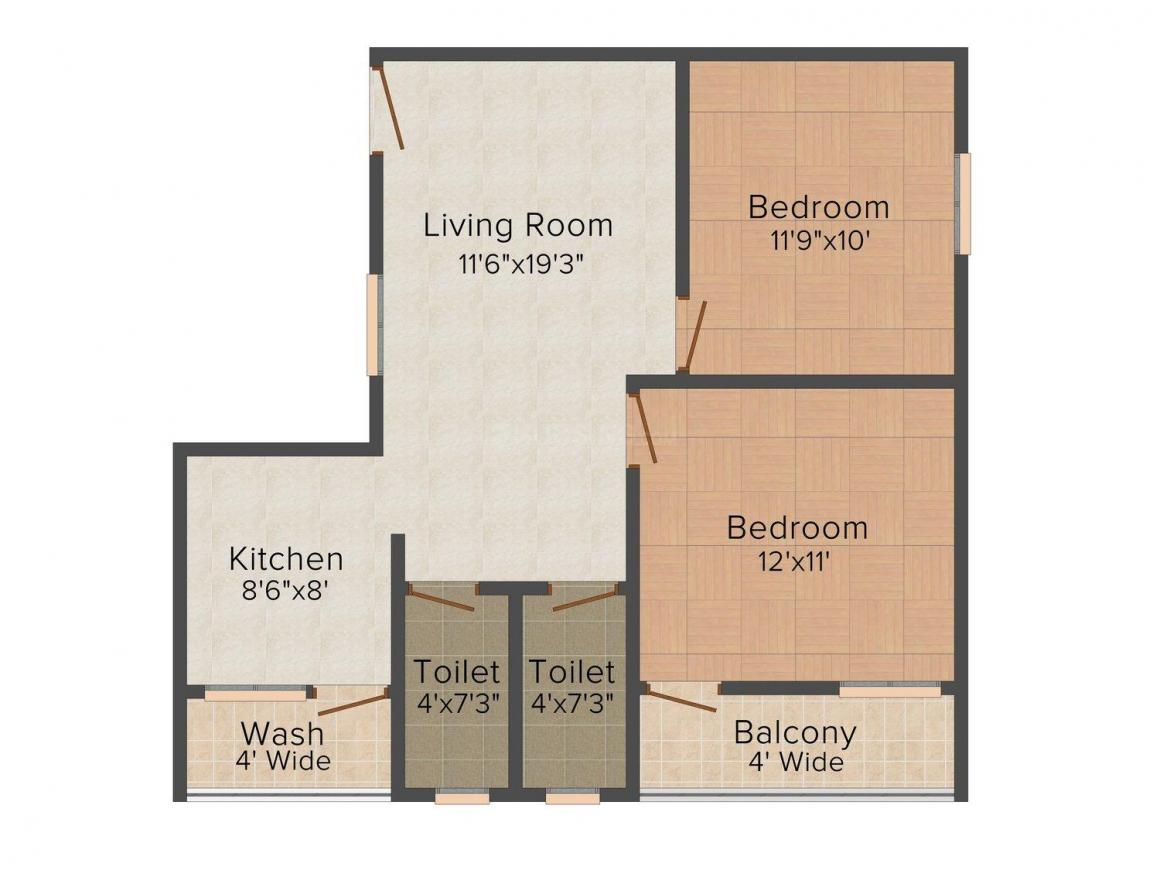 Floor Plan Image of 794.0 - 968.0 Sq.ft 2 BHK Apartment for buy in Devsar Bhawani Complex