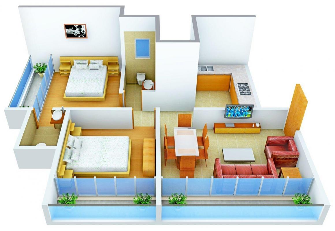 Aaryan Gloria Floor Plan: 2 BHK Unit with Built up area of 999 sq.ft 1