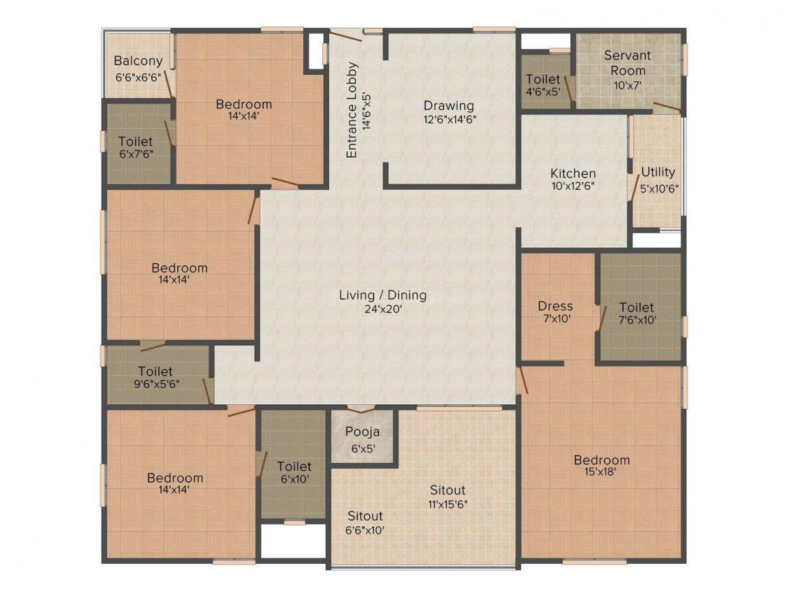 Floor Plan Image of 0 - 3600 Sq.ft 4 BHK Apartment for buy in Vardaan Ratan Heights