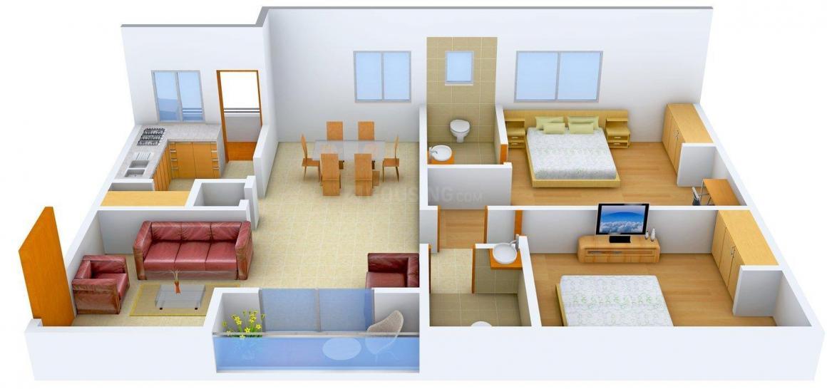Floor Plan Image of 1360.0 - 1750.0 Sq.ft 2 BHK Apartment for buy in Asvasidh Nest 2