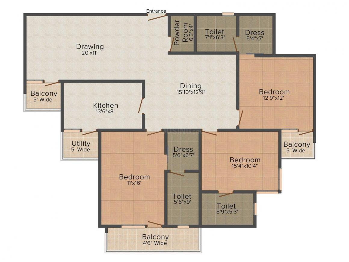 Floor Plan Image of 1950 - 3080 Sq.ft 3 BHK Apartment for buy in Chandak Imperial Galaxy