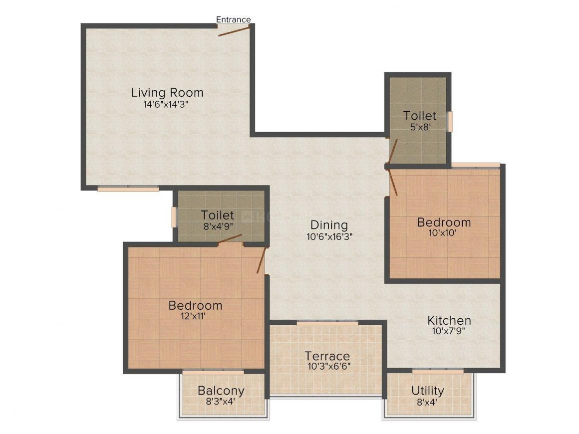 Floor Plan Image of 1004 - 1485 Sq.ft 2 BHK Apartment for buy in Srinidhi Aashritha