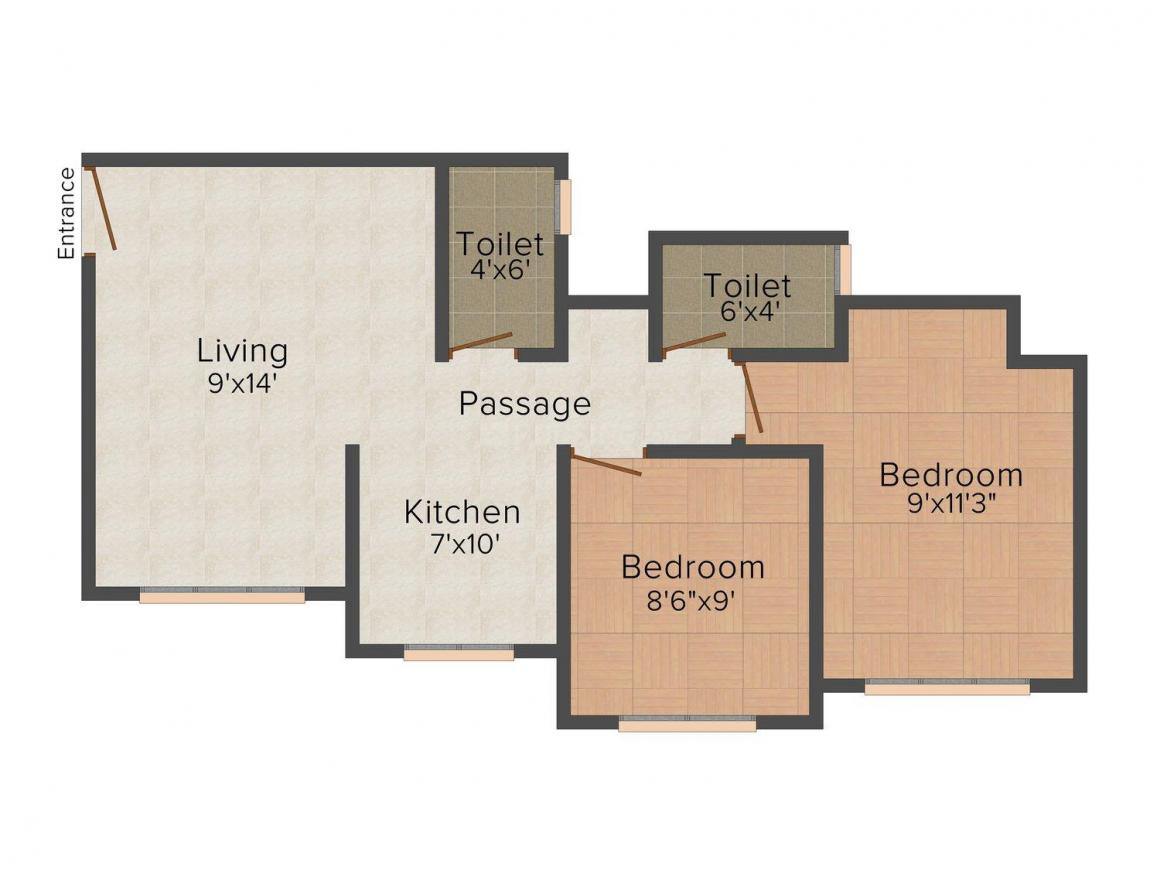 Floor Plan Image of 520.0 - 800.0 Sq.ft 1 BHK Apartment for buy in Shaligram Township Building No-1