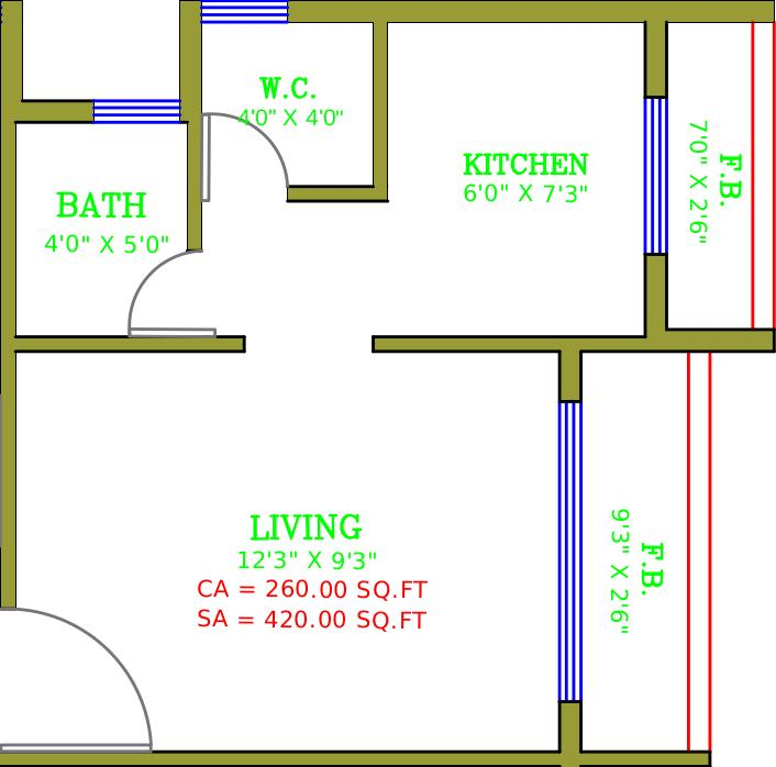 Floor Plan Image of 260.0 - 380.0 Sq.ft 1 RK Apartment for buy in Satyam Plaza
