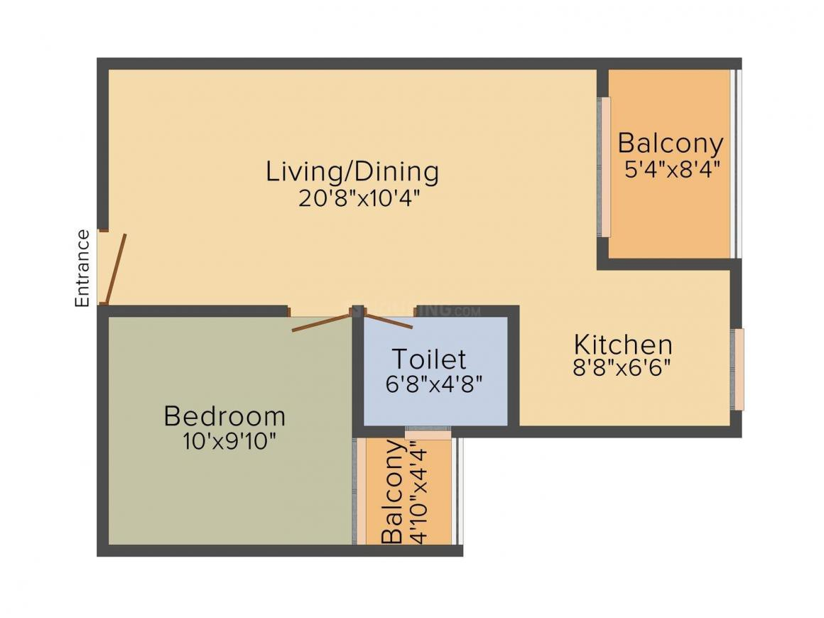 Sowparnika Atrium Floor Plan: 1 BHK Unit with Built up area of 702 sq.ft 1