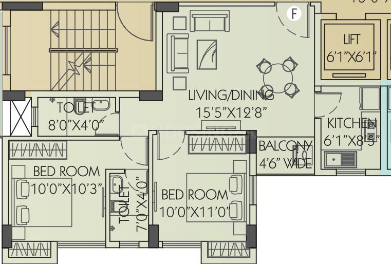 Chitrakut Heights Floor Plan: 2 BHK Unit with Built up area of 883 sq.ft 1