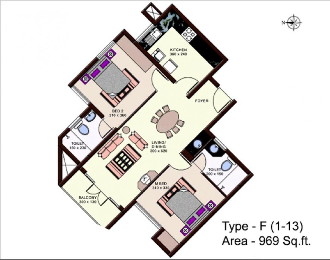 Skyline Oceanic Floor Plan: 2 BHK Unit with Built up area of 969 sq.ft 1