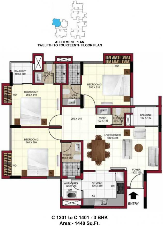 Floor Plan Image of 1056 - 1894 Sq.ft 2 BHK Apartment for buy in Confident Exotica