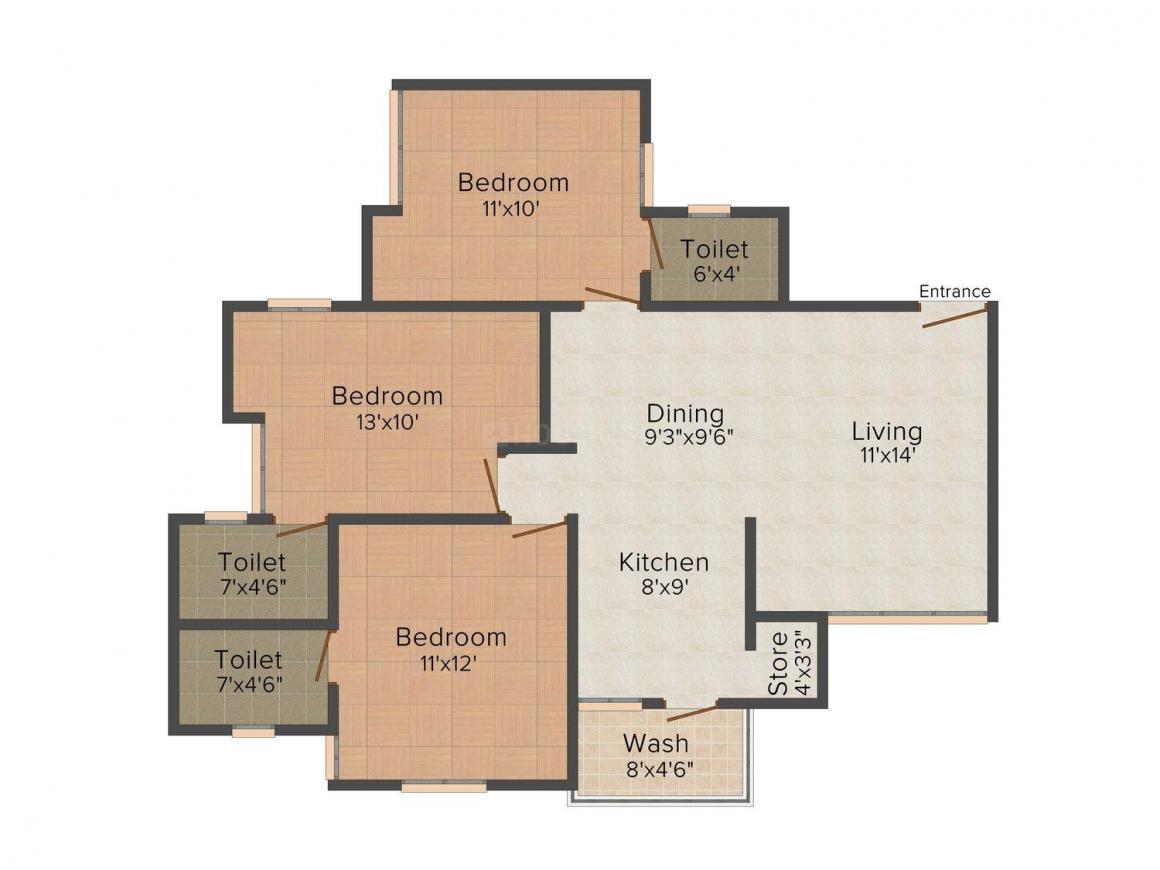 Floor Plan Image of 0 - 1443 Sq.ft 3 BHK Apartment for buy in Shyamal Skylife Tower 1