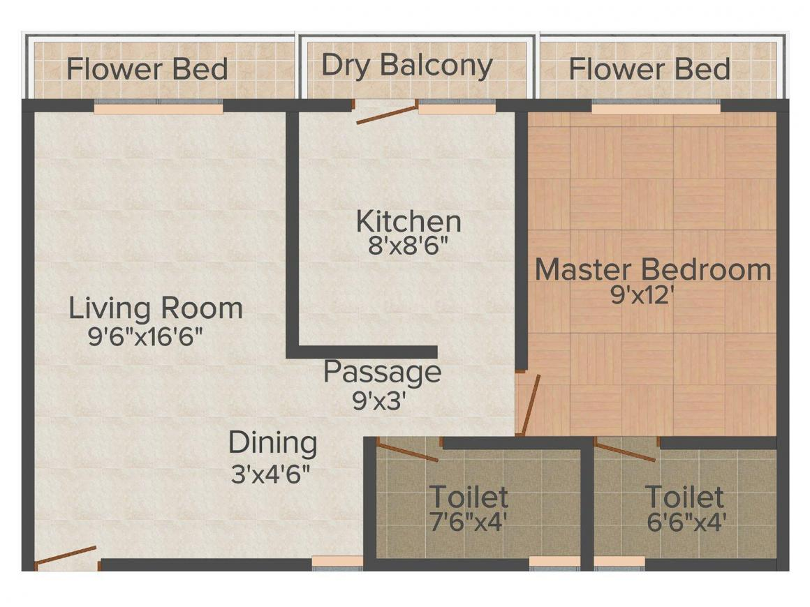 Parmar Jewel Residency Floor Plan: 1 BHK Unit with Built up area of 677 sq.ft 1