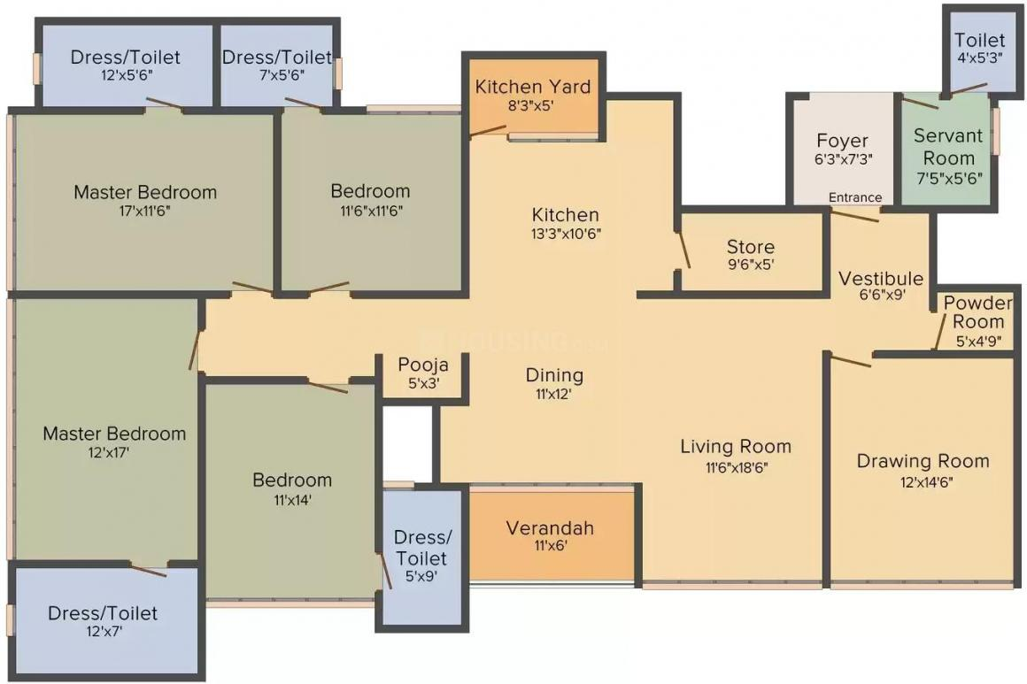 Friends Ville Lifestyle Floor Plan: 4 BHK Unit with Built up area of 3525 sq.ft 1