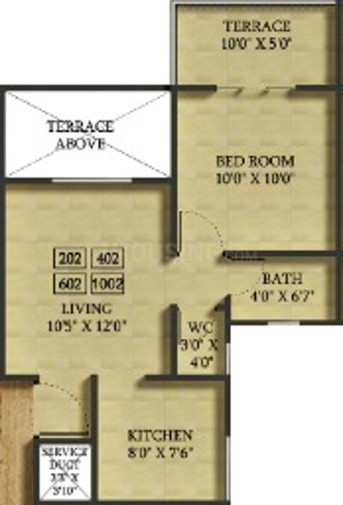 Avani Floor Plan: 1 BHK Unit with Built up area of 416 sq.ft 1