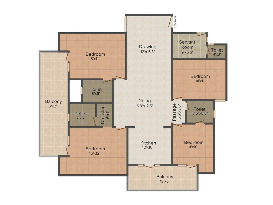 Uttam Homes 5 Floor Plan: 4 BHK Unit with Built up area of 2412 sq.ft 1