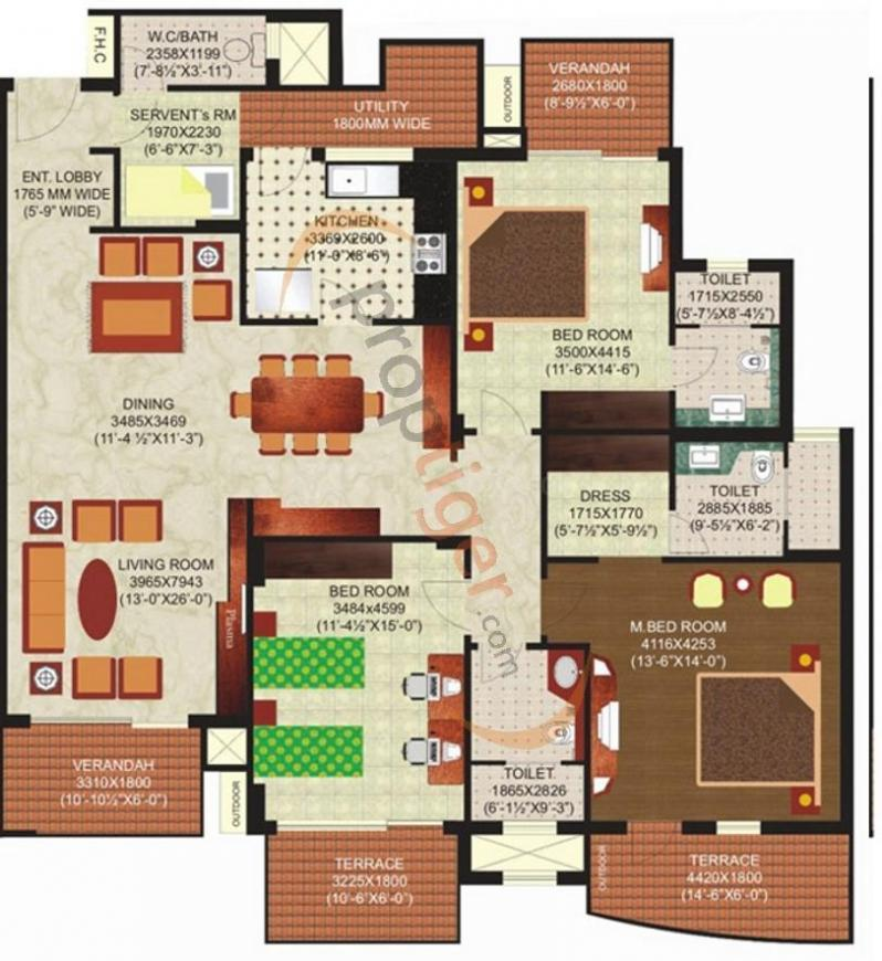 Mahindra Chloris Floor Plan: 3 BHK Unit with Built up area of 2000 sq.ft 1