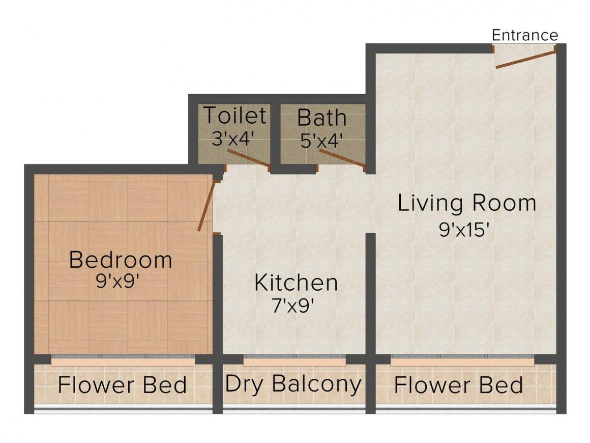 Floor Plan Image of 540.0 - 800.0 Sq.ft 1 BHK Apartment for buy in Shiv Sai Nisarg Residency