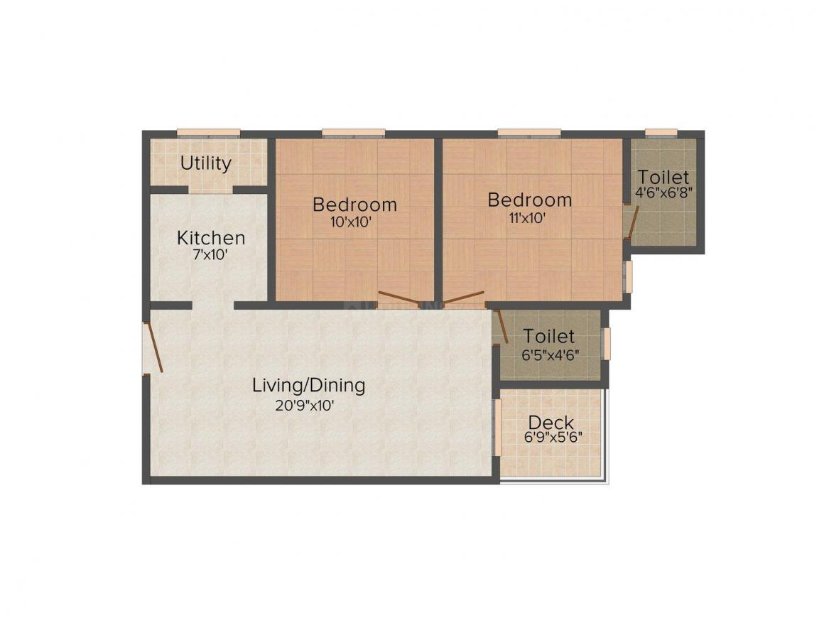 Floor Plan Image of 798 - 896 Sq.ft 2 BHK Apartment for buy in SB Aaliyah