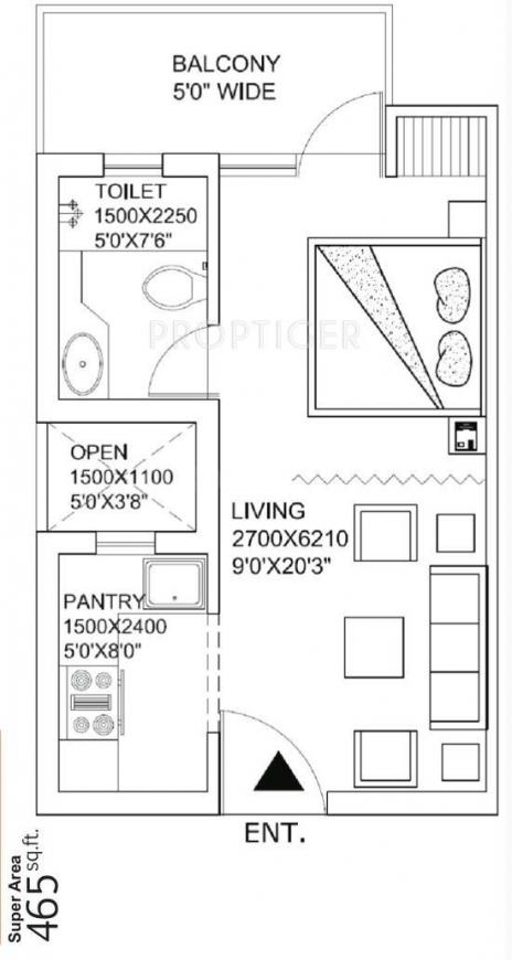 Renowned Park Lotus Floor Plan: 1 BHK Unit with Built up area of 465 sq.ft 1