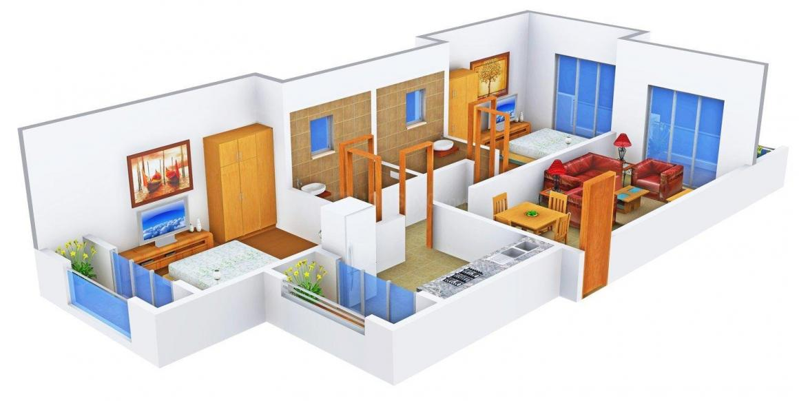 Floor Plan Image of 0 - 792.0 Sq.ft 2 BHK Apartment for buy in Ev Castle