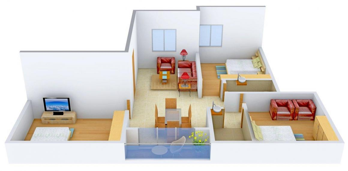 Floor Plan Image of 0 - 1175.0 Sq.ft 3 BHK Apartment for buy in Attcon Gagandeep