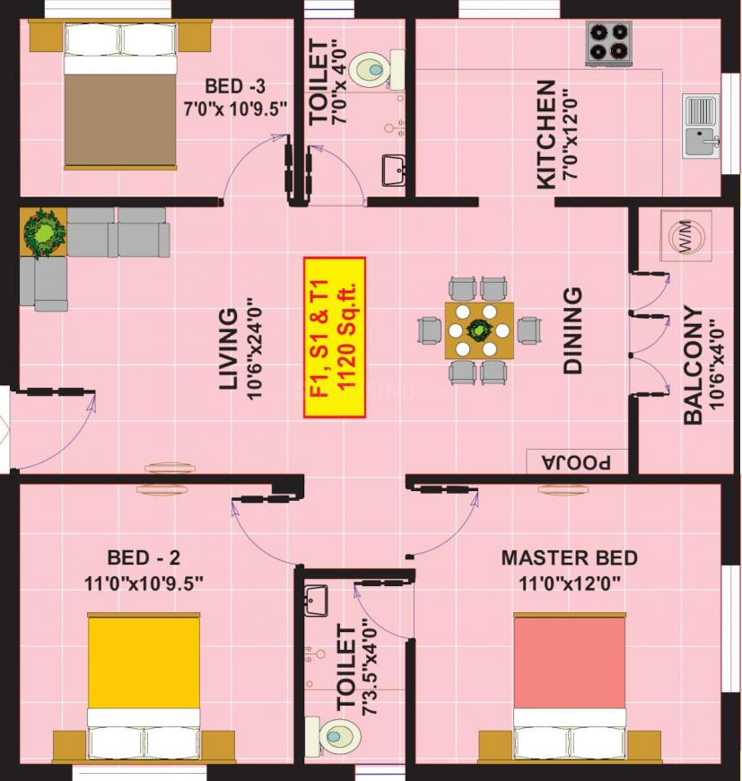 Eeshani Poorna Floor Plan: 3 BHK Unit with Built up area of 1120 sq.ft 1