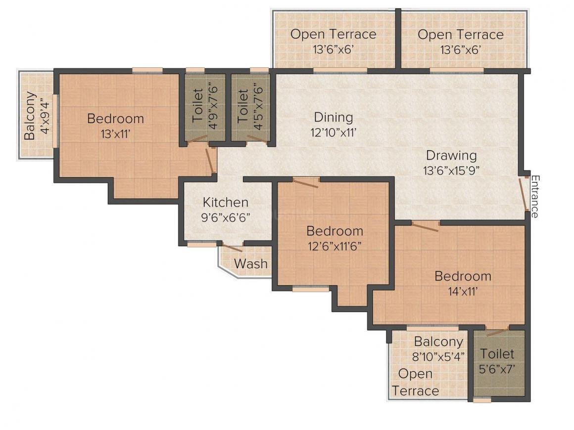 Floor Plan Image of 1718.0 - 1967.0 Sq.ft 3 BHK Apartment for buy in Arya Sky