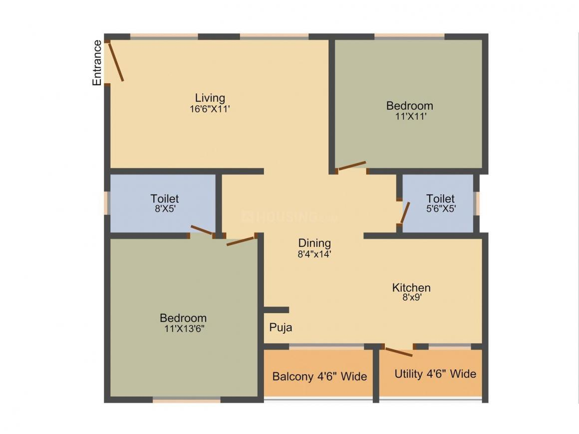 Floor Plan Image of 1110 - 1535 Sq.ft 2 BHK Apartment for buy in Active Amity Harmony