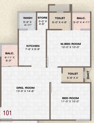 Prathna Pearl Floor Plan: 2 BHK Unit with Built up area of 1116 sq.ft 1