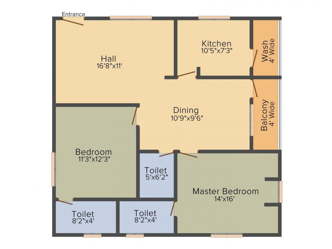 Floor Plan Image of 1156.0 - 1910.0 Sq.ft 2 BHK Apartment for buy in Comfort Homes