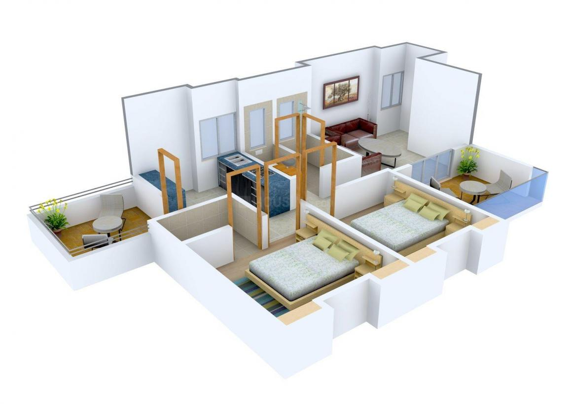 SKD Pearl Floor Plan: 2 BHK Unit with Built up area of 948 sq.ft 1
