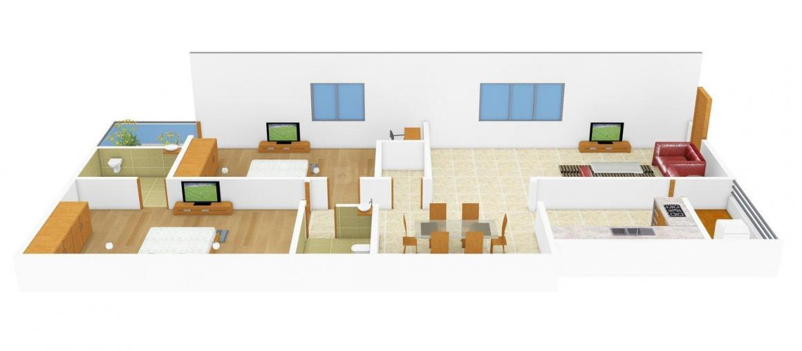 Floor Plan Image of 1170.0 - 1635.0 Sq.ft 2 BHK Apartment for buy in Akruthi Inspire