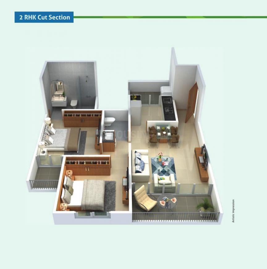 Mantra Park View Phase 2 Floor Plan: 2 BHK Unit with Built up area of 726 sq.ft 1