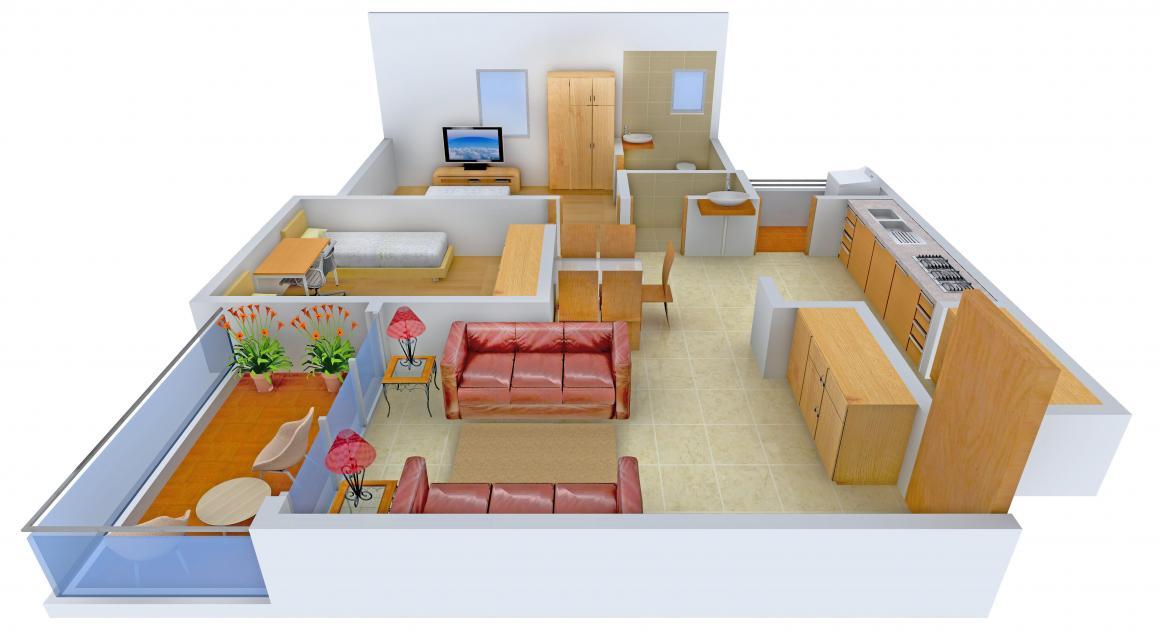 Navkar Kalasagar Heights Floor Plan: 2 BHK Unit with Built up area of 1017 sq.ft 1
