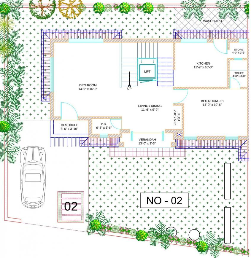 Silver Sparsh Villa Floor Plan: 4 BHK Unit with Built up area of 2207 sq.ft 3